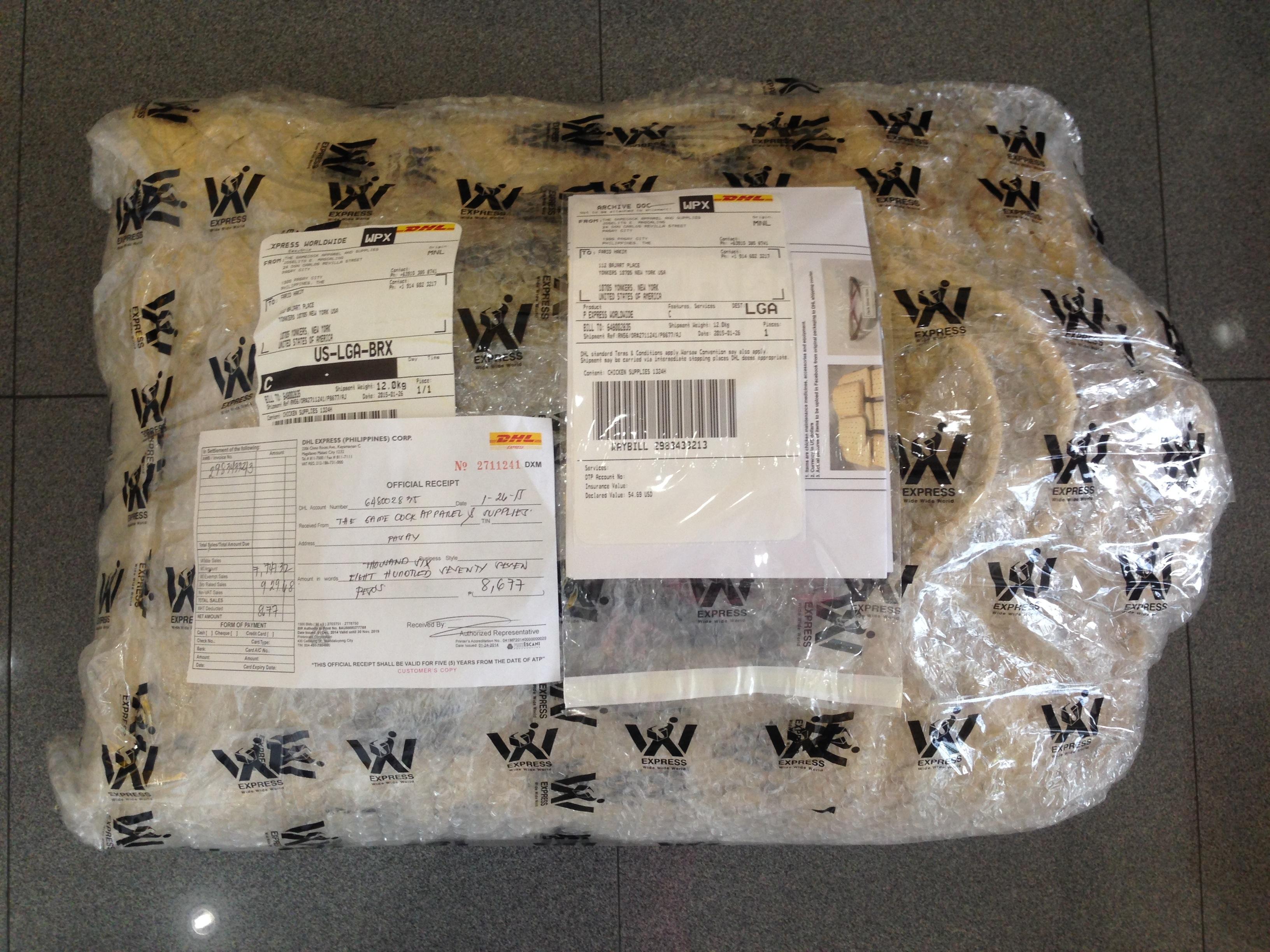 woven bag dhl shipping receipt